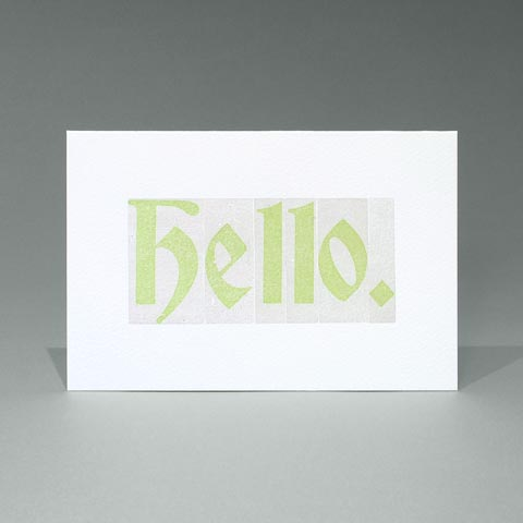 Letterpress printed Woodletter 'Hello' card