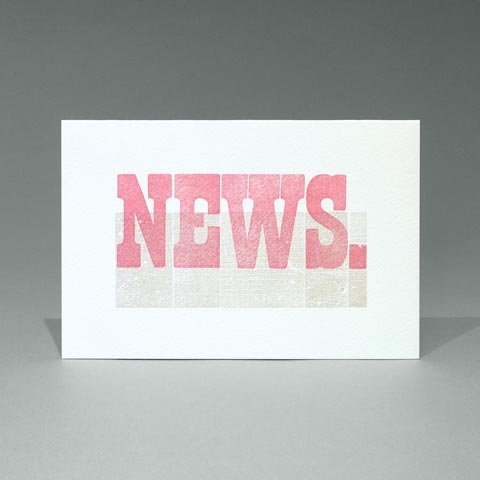 Letterpress printed Woodletter 'News' card
