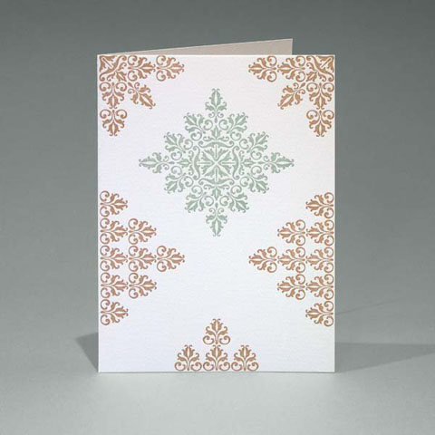 Brown/Duck Egg Floral card