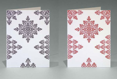 Rich Black and Deep Red Floral cards