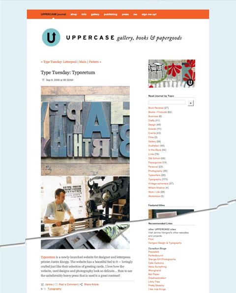 Uppercase Journal feature on Typoretum