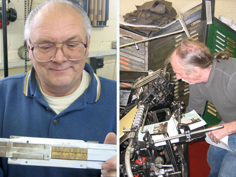 Dave Boden (holding a Ludlow setting stick) and Len Friend (printing on 'Heidi' – his Heidelberg Platen) at the Crescent Card Company in Tiptree. Note the racks of angled Ludlow matrix cases in the background.