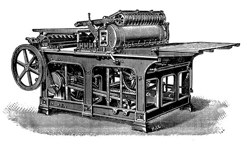 An engraving of an early type Wharfedale press that is very similar to our press, with the exception of the spoked flywheel.