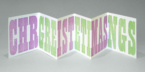 'Christmas Greetings' Woodletter Concertina card