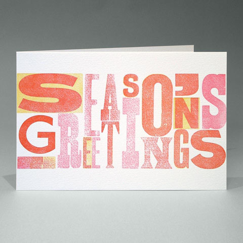 Antique Woodletter Season's Greetings card