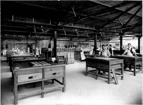 The main Composing Room of the Anchor Press in 1933.