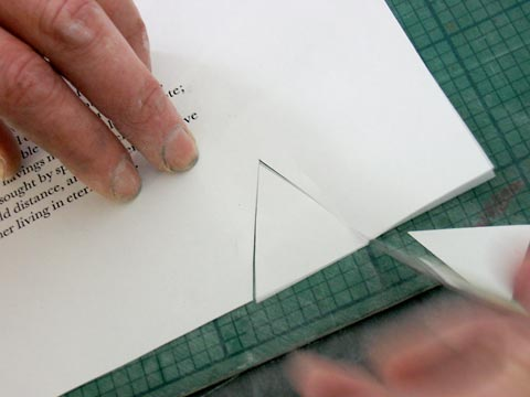 Cutting V's from the sheet, starting at the holes made by the bodkin.