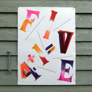 Letterpress '4+1=V' poster by The Occasional Print Club