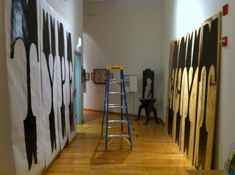 World's largest movable type and prints drying (image © Nick Sherman 2011)