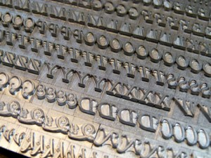 A fount of semi-founders' Caslon type cast at The Whittington Press