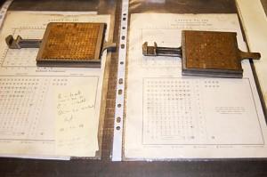 Monotype Matrix cases & layouts at The Whittington Press (image courtesy of Ian Knight/Printmonkey Press)