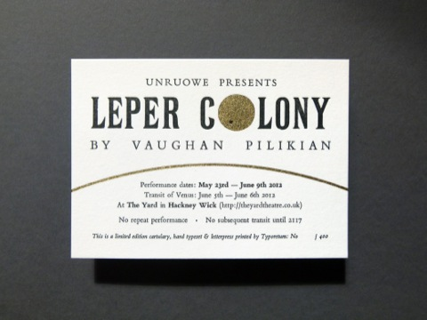 Leper Colony letterpress card