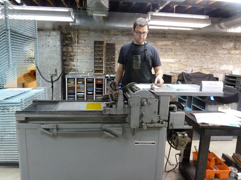 Simon Goode printing on the Vandercook press at Minnesota Center for Book Arts