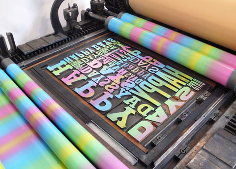 Wood type forme for our limited edition 'Happy Days' prints